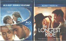 NICHOLAS SPARKS TRIPLE: Notebook- Lucky One- Longest Ride-Romance- NEW BLU RAY
