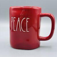 Rae Dunn PEACE Red Coffee Tea Large Mug White Lettering Christmas Holiday