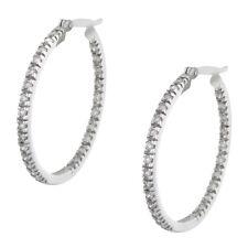 14K White Gold 1.00 ctw Diamond Hoop Earrings