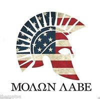 Thin Red Line Tattered Reflective 5x4 Inch Flag Molon Labe Spartan Decal Sticker