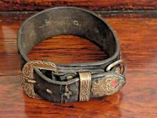 More details for antique victorian leather and brass dog collar antique pet collar dog jewellery