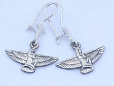 Isis with open arms kneeling on the sun symbol .925 Silver Earrings (Hallmarked)