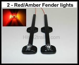 (2) Tecniq LED Red/Amber Trailer fender marker light Black clearance USA