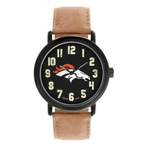 Denver Broncos Game Time Men's 'Throwback' Quartz Metal and Leather Watch [NEW]
