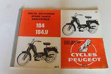 catalogue de pièce détachéés  peugeot 104 et 104 v de 1971