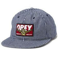 NEW OBEY KINGS OF THE CITY HAT NAVY HICKORY CAP YELLOW MONKEY RED LOGO ONE SIZE