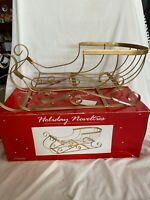 Sleigh Gold tone Wire Frame Christmas Ornament/Standing Holiday Decor