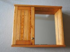 Real Pine Wood, Wall Mounted Bathroom Cabinet with Shelf and Mirror
