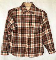 Vtg Women's Pendleton Plaid Flannel Button Up Virgin Wool Size 12 LARGE Shirt
