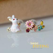 Boucles d`Oreilles Clous Puces Lapin Fleur Perle Email Blanc Rose Jaune Doré L2