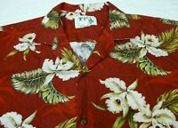 KY'S Mens XL Floral Hawaiian Camp Shirt Made In Hawaii Red White Green Cotton