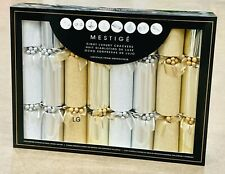 8 Pack Mestige Luxury Christmas Crackers With Swarovski Crystals Gold / White