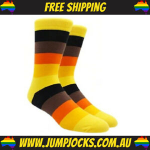 Yellow Striped Dress Socks - Business, Colourful, Bright **FREE SHIPPING**