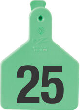 """Z-Tag Calf Tag Short Neck 2-3/8"""" W x 3-1/4"""" H Hot-Stamped #101-125 Green 25ct"""
