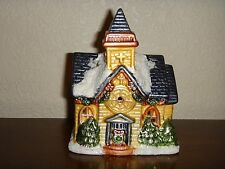 """New Year Christmas Ceramic Church House Candle Holder 3.5""""(L) x 5""""(H) x 2.25""""(W)"""