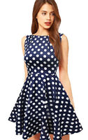 Vintage style navy blue polka dot summer skater A line dress size 16,18
