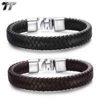 TT Leather 316L Stainless Steel Bracelet Wristband (BR190) NEW Arrival
