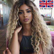 Fashion Womens Curly Hair Front Lace Wigs African Glueless Ombre Synthetic Wig