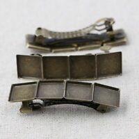 10PCS Hairclips Base Antique Bronze Settings 12mm Square Cabochon Hair Pin Trays