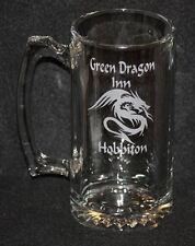 Lord of the Rings Hobbit Green Dragon Inn Symbol Custom Etched Glass Beer Mug