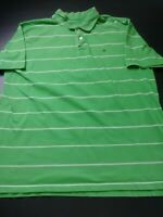 Nautica Mens Shirt Size 2XL XXL Green Striped Short Sleeve Polo 100% Pima Cotton