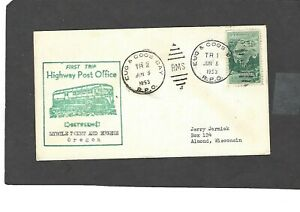 HIGHWAY POST OFFICE COVER TAMPA & EUGENE & COOS BAY  RPO CANCEL JUN 5-1953