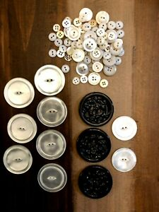 Variety of Large and small Coat Buttons: MOP, Fake, and 3 set of Black Designers