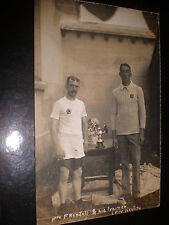 Old postcard sport Pro F Rendall and trainer pre Kealing c1900s
