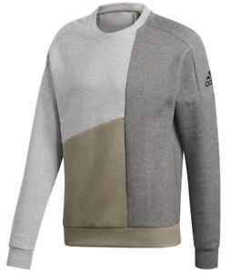 Mens Adidas Sweatshirt Jumper Pullover Cotton Sweater - Grey