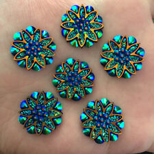 5pcs 18mm AB Resin flower Rhinestone Flatback Wedding decoration 2 hole Buttons