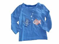 NWT Girl's Gymboree Mix n' Match fish blue long sleeve shirt ~ 12-18 months