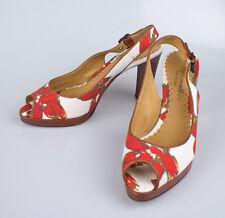 NIB. BETTYE MULLER Red Flower Sling Back Heels Peep Toe Shoes 7.5 $395