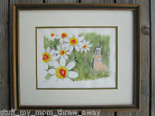 """Hand Colored Lithograph """"Daisies"""" & Girl by B. Menashe Signed Numbered 218/275"""