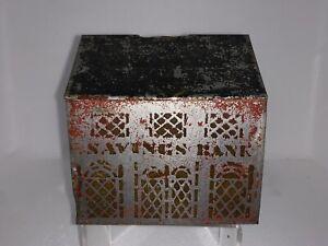 Large Original 1880's Stenciled Tin House Penny Bank Primitive Antique Toy