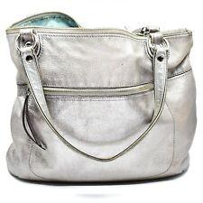 Coach Poppy 19002 Metallic Silver Leather Glam Tote Handbag Purse
