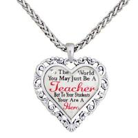Teacher You Are A Hero Silver Chain Necklace Heart Jewelry Appreciation Gift