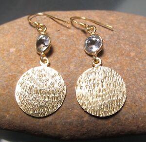 925 silver & gold plate pretty cut blue topaz gemstone earrings. Gift bag.
