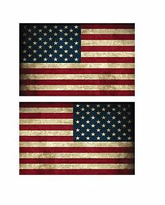 """(1 pr) 5"""" USA American Flag Vintage Style Right/Left Decal Sticker P526"""