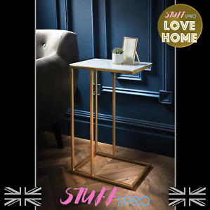Glass Topped Marble Effect Sofa Table With Stylish Gold Legs Art Deco Design