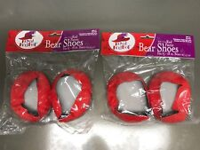 2 pair Royal Red Hat Red Patent Bear Shoes Accessories Slip On Fits 15-18 In.