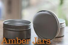 10 x 200ml Aluminium Silver Tin jar with Wadded Lid- for body scrub, beard balm