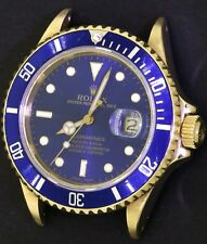 Rolex Submariner 16808 18K gold men's blue automatic diving watch R-serial #