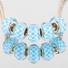 Blue white grid 5pcs SILVER MURANO bead LAMPWORK suit European Charm Bracelet