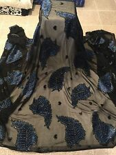 "BLACK NAVY BURNOUT CHIFFON VELVET W/SILVER GLITTER FABRIC 45"" WIDE 1 YARD"
