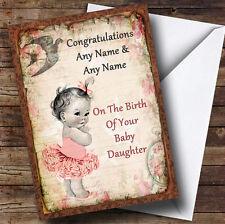VINTAGE BABY GIRL personalizzata Nuovo Bambino Saluti CARD