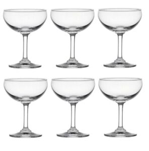 6 Elegant Cocktail Champagne Saucer Glass 16cl Small Shallow Classy Coupe Glass