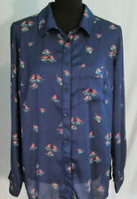 Liz Clairborne Woman Navy Blue Semi Sheer Shirt Top Birds w Collar Size 1X