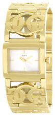 Guess Logo Womens Silver Dial Gold-Tone Stainless Steel Bracelet Watch W11117L1