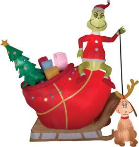 HUGE 12 FT CHRISTMAS SANTA DR SEUSS GRINCH & MAX SLED SLEIGH Airblown Inflatable