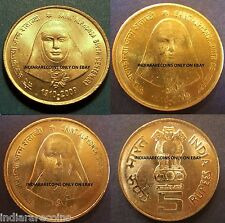 Indien India Saint Alphonsa Rose Christianity Full 3 Coin Set 5 Rs Unc NEW 2009